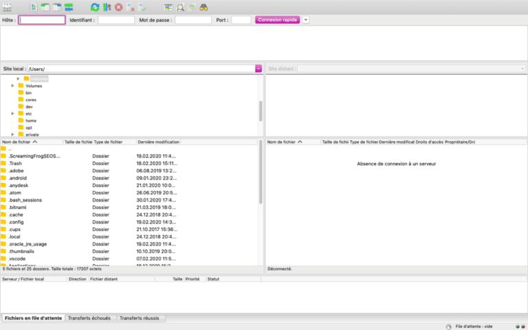 Aperçu du FTP client FileZilla