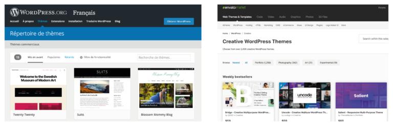 Présentation de WordPress.org et ThemeForest