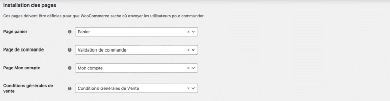 Installation Pages Woocommerce