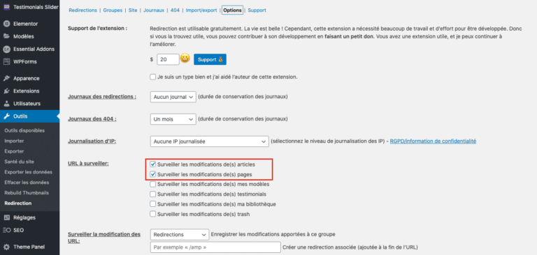 Reglages Plugin Redirection WordPress 01