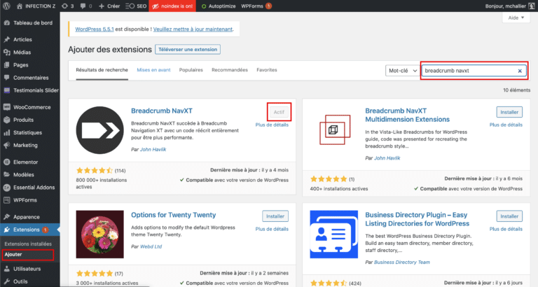 Installer Breadcrumb Navxt WordPress